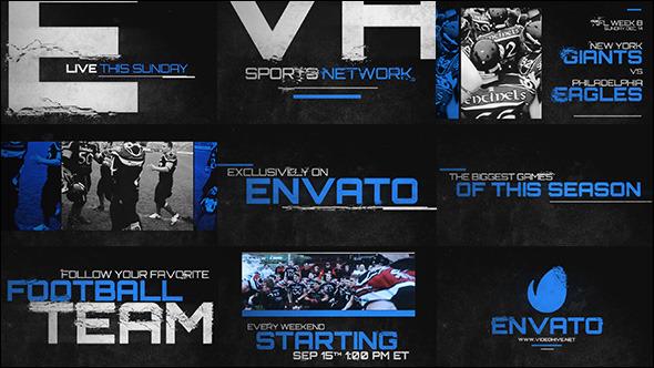AE模板:体育新闻报道 动感片头预告 撕裂文字效果 网络栏目包装模板Videohive Grunge Sports Promo
