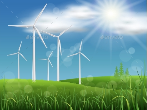 GraphicRiver Windmills on the Meadow 9020936