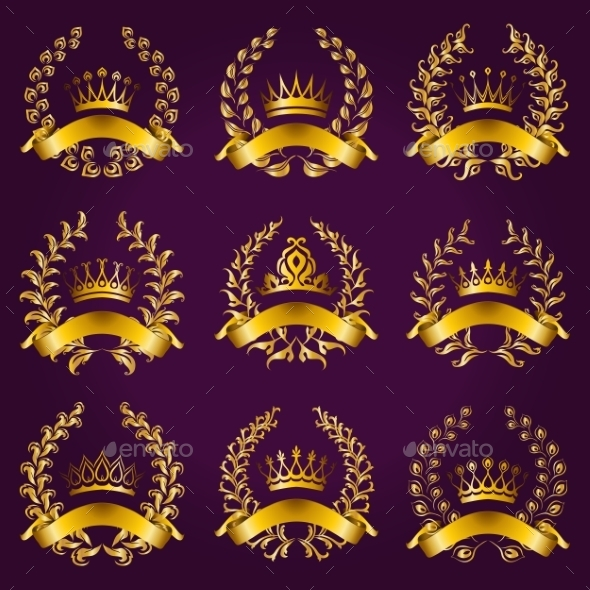 GraphicRiver Luxury Gold Labels with Laurel Wreath 9021721