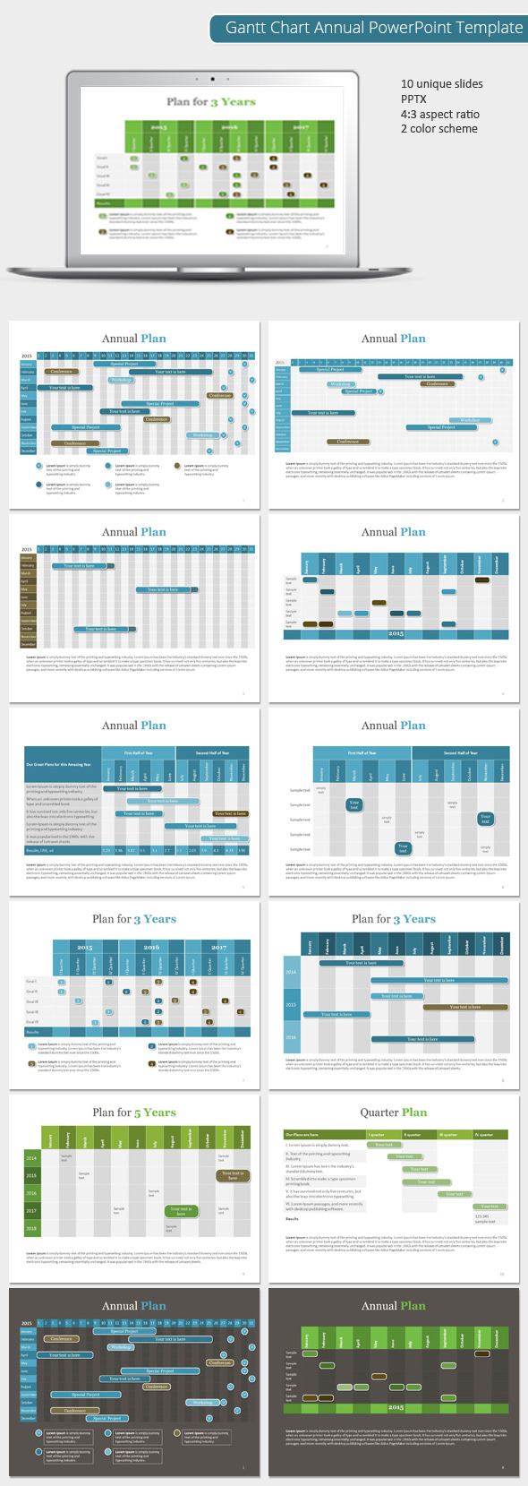 GraphicRiver Gantt Chart Annual PowerPoint Template 9021752