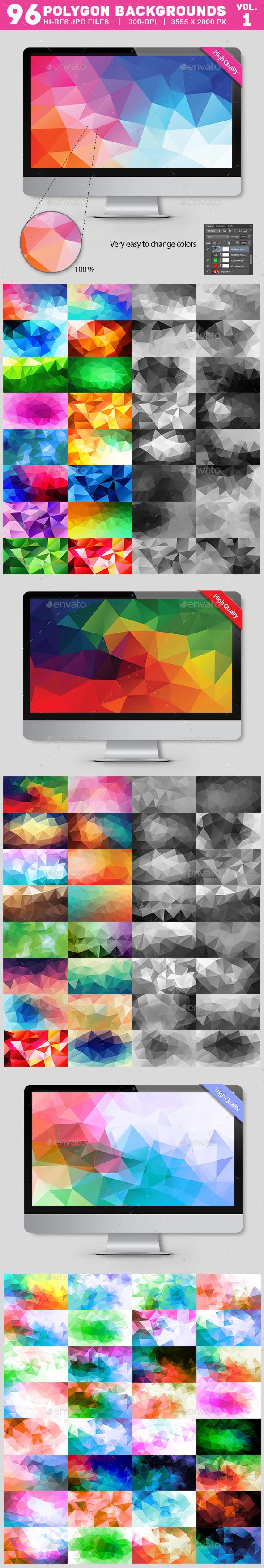 96 Polygon Backgrounds Bundle