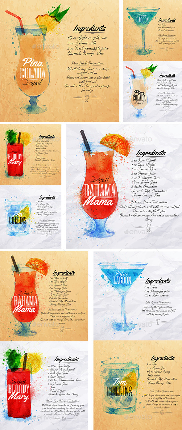 GraphicRiver Cocktails Watercolor 9024610