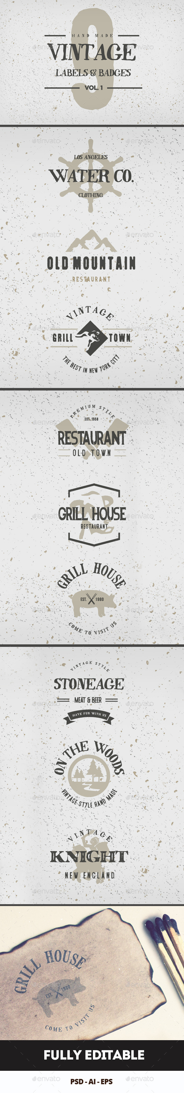 GraphicRiver Vintage Hand Drawn Logos V1 9024923
