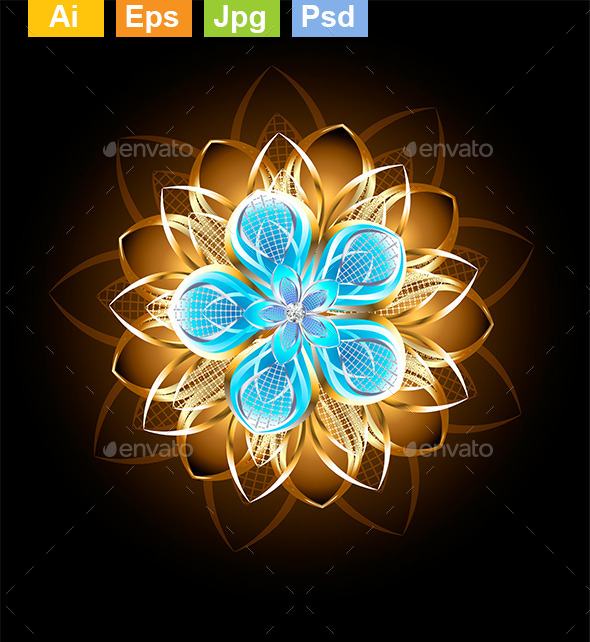 GraphicRiver Abstract Turquoise Flower 9025053