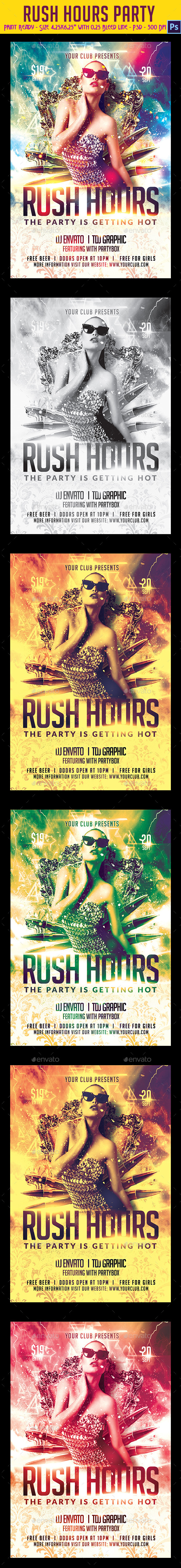 GraphicRiver Rush Hours Party Flyer 9025058