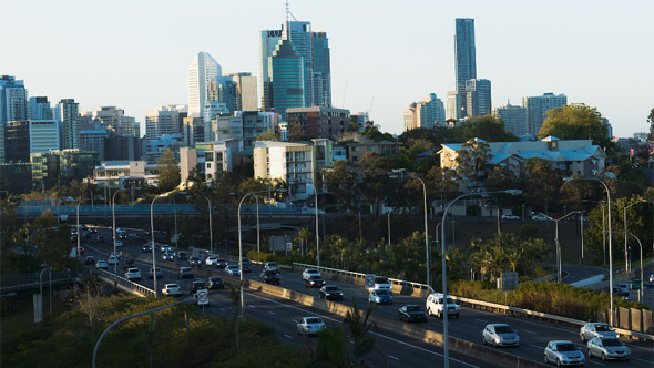 Brisbane City Golden Hour Highway