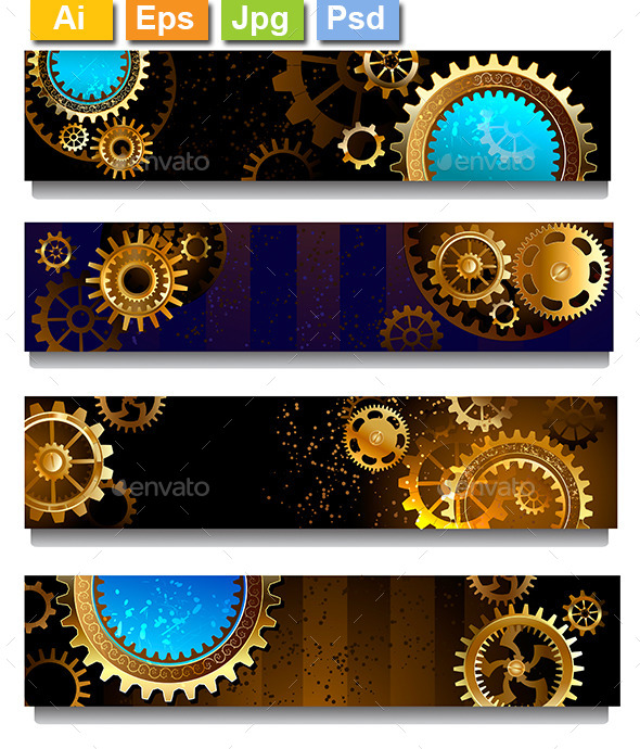 GraphicRiver Four Banners with Gears 9025549