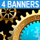 Four Banners with Gears - GraphicRiver Item for Sale
