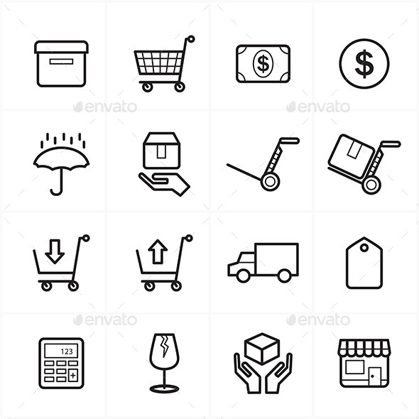 GraphicRiver Flat Line Icons For Business Icons and Ecommerce 9025561