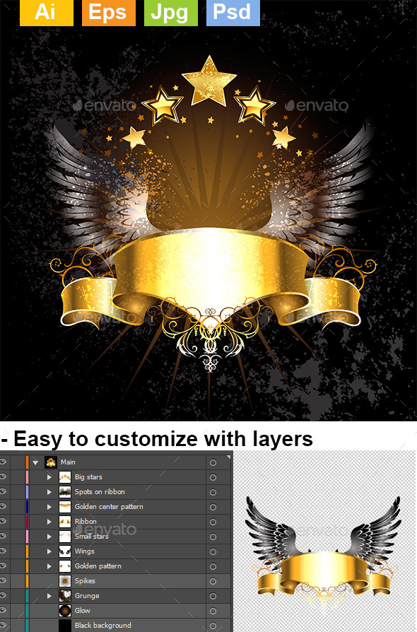 GraphicRiver Gold Ribbon with Wings 9025608