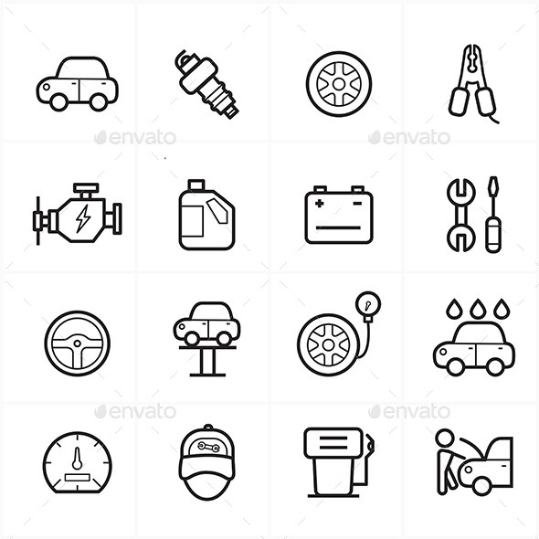 GraphicRiver Flat Line Icons For Car Service Icons Vector Illustration 9025618