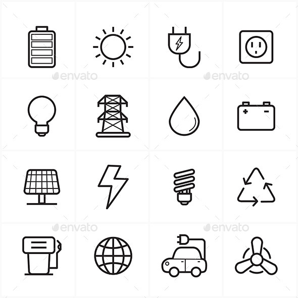 GraphicRiver Flat Line Icons For Environment Icons and Ecology 9025764
