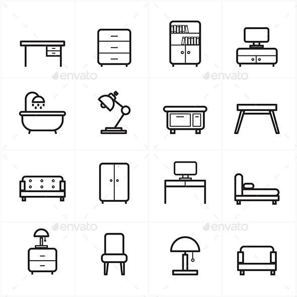 GraphicRiver Flat Line Icons For Furniture Icons Vector Illustration 9025854