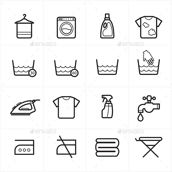 GraphicRiver Flat Line Icons For Laundry and Washing Icons 9025875