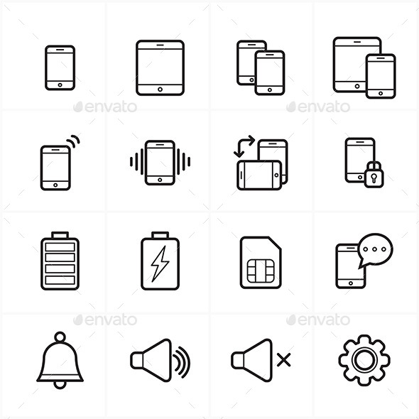 GraphicRiver Flat Line Icons For Mobile Icons and Notification 9025883