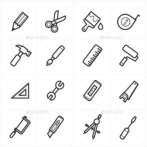 GraphicRiver Flat Line Icons For Tools Related Icons Vector Ill 9025922