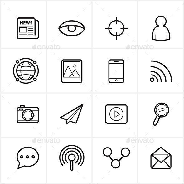 GraphicRiver Flat Line Icons Communication and Web Icons Vector 9025941