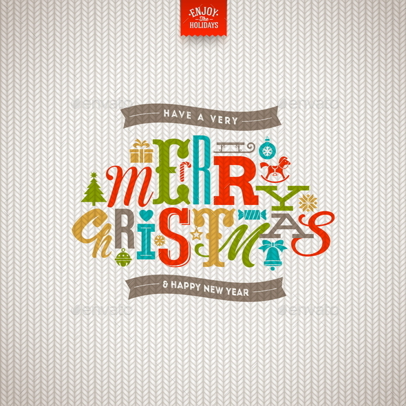 GraphicRiver Christmas Type Design on a Knitted Background 9026424