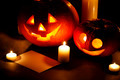 Halloween pumpkins with candles and card - PhotoDune Item for Sale