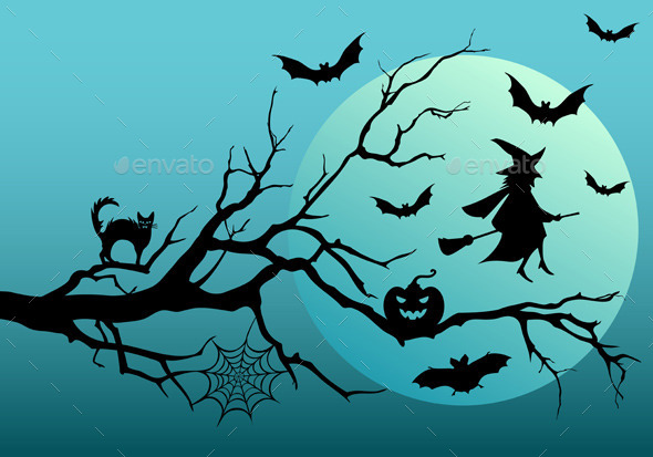 GraphicRiver Halloween Witch with Bats 9028032