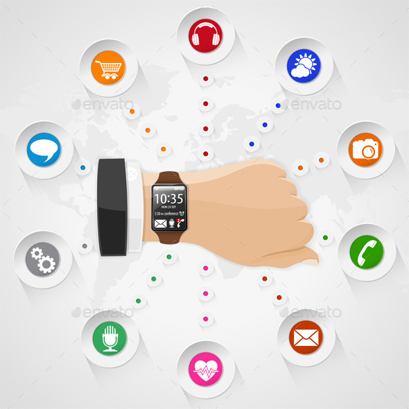 GraphicRiver Smart Watch with Applications 9028300