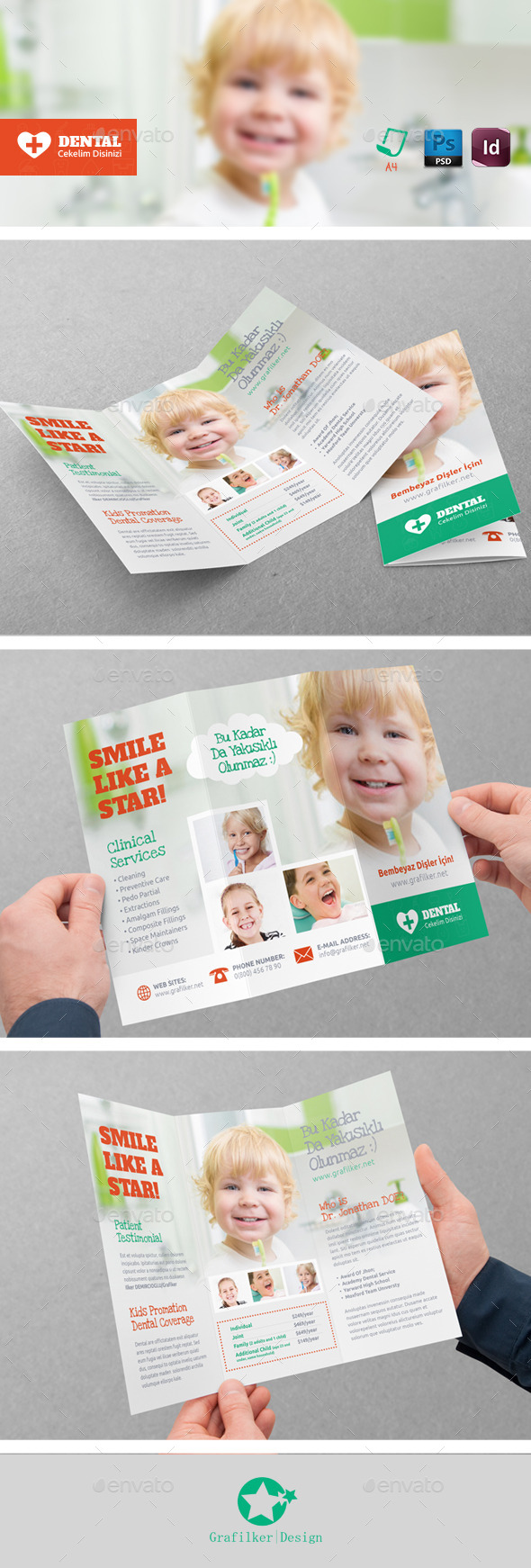 GraphicRiver Kids Dental Tri-Fold Templates 9028473