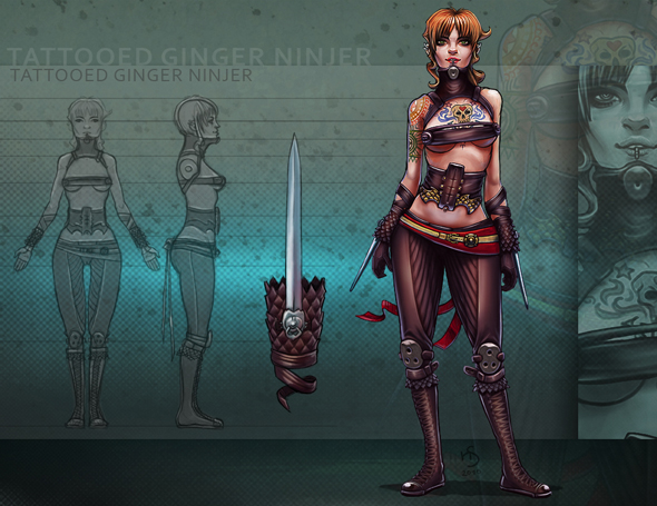 3DOcean Tattooed Ginger Ninja 2D Concepts -  Characters 117092