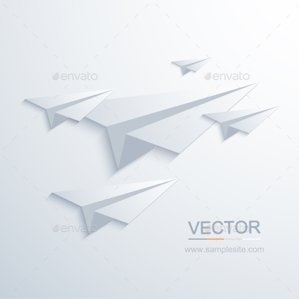 GraphicRiver Vector Modern Origami Airplane Background 9028750