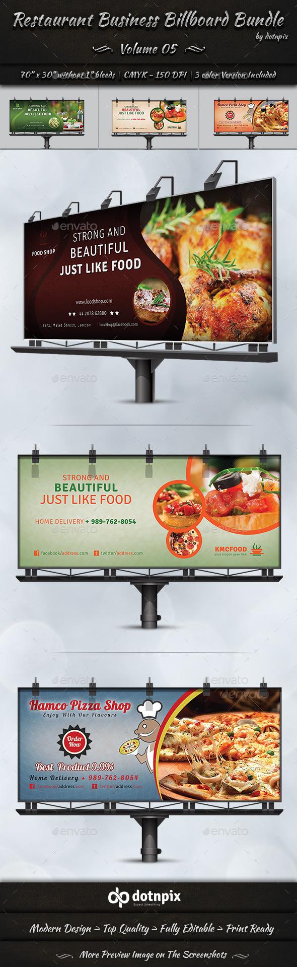 GraphicRiver Restaurant Business Billboard Bundle Volume 5 9029483