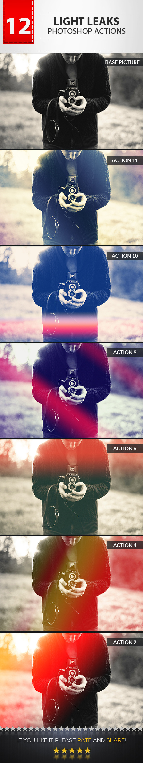 GraphicRiver 12 Light Leaks Photoshop Actions 9029766