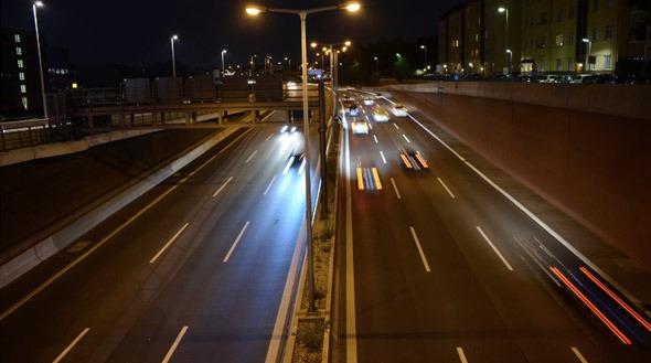 Night Traffic in German Highway Autobahn