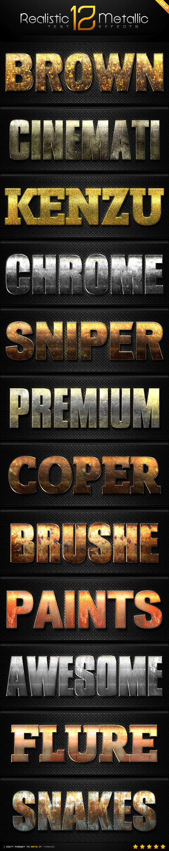 GraphicRiver 12 Realistic Metallic Text Effect Styles GO.2 9029870
