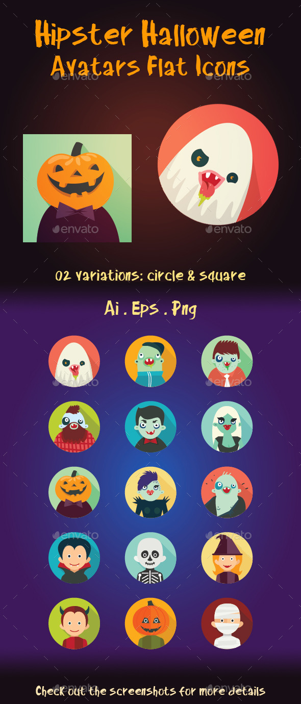 GraphicRiver Hipster Halloween Avatar Flat Icons 9029925