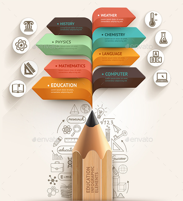 GraphicRiver Education Pencil Arrow Infographics Template 9030486