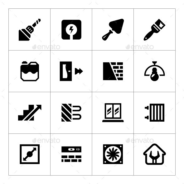 GraphicRiver Set Icons of Repair and Building 9030985