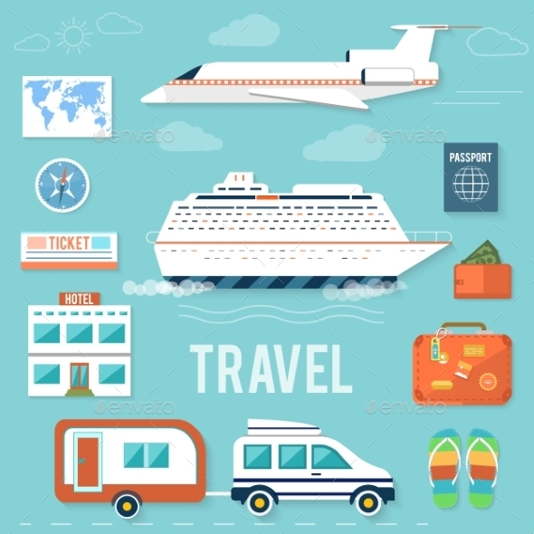 GraphicRiver Set of Traveling and Planning a Summer Vacation 9031378