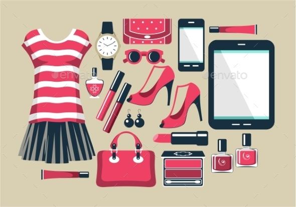 GraphicRiver Fashion Set in a Style Flat Design 9031446