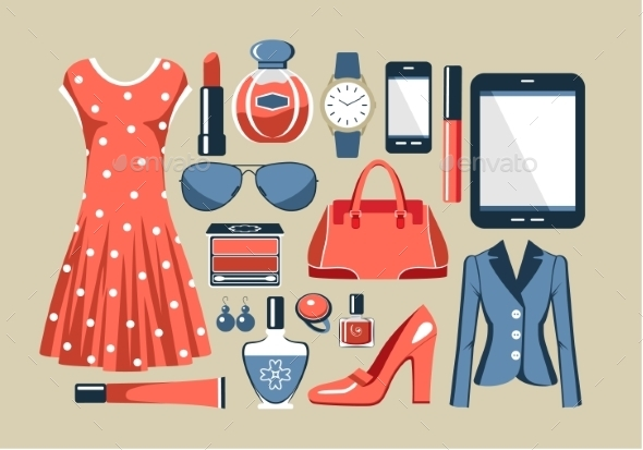 GraphicRiver Fashion Set in a Style Flat Design 9031448
