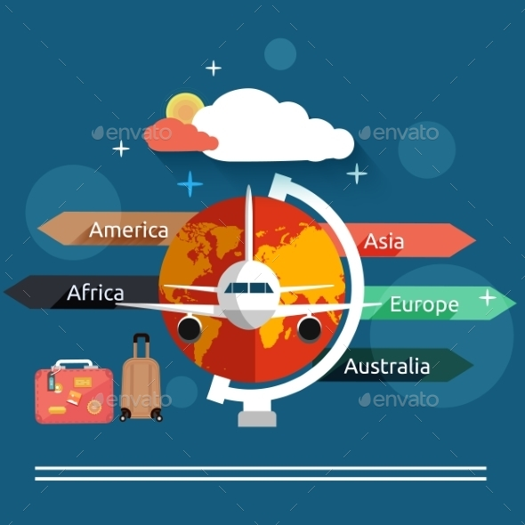 GraphicRiver Airplane Flying Over the Map in Different Countrys 9031572