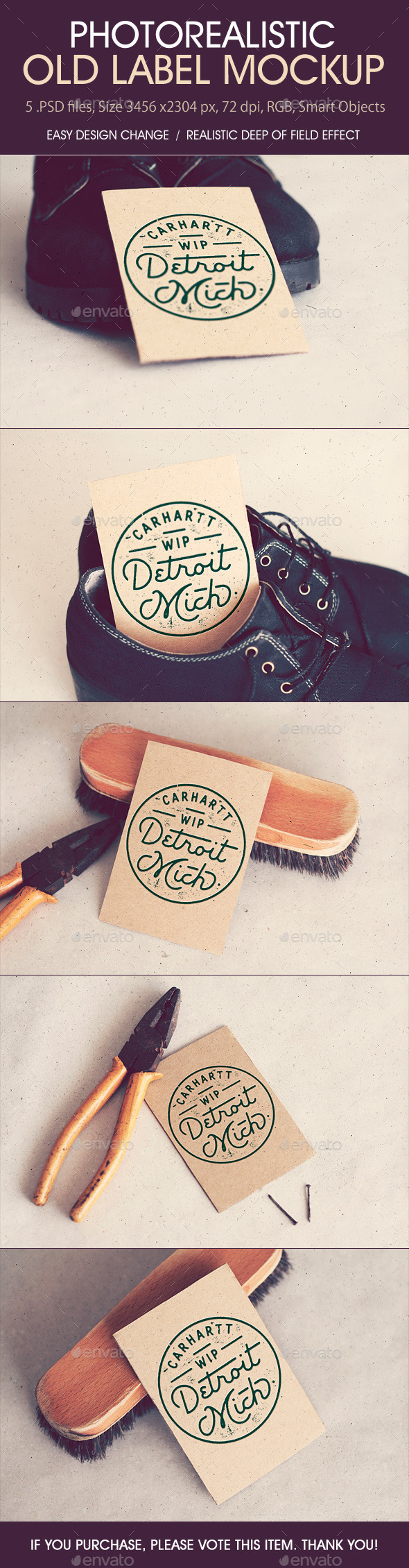 GraphicRiver Photorealistic Old Label Mockup 9031624