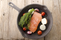 salmon fillet in a cast iron pan - PhotoDune Item for Sale