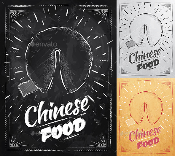 GraphicRiver Poster Chinese Cookies in Retro Style 9031888