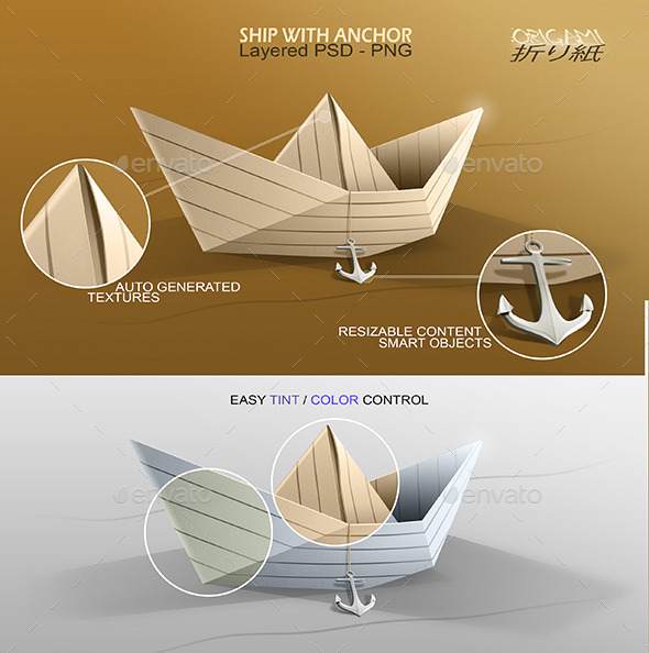 GraphicRiver Origami Ship with Anchor 9031936