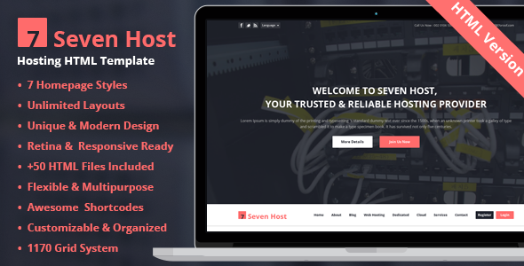 ThemeForest Seven Host Hosting HTML Template 8954391