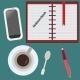 Desktop, Business Lunch. Flat Set. - GraphicRiver Item for Sale