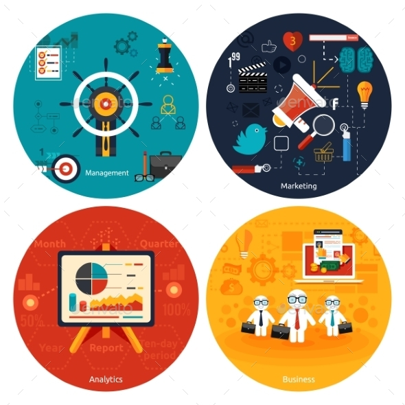 GraphicRiver Icons for Marketing Management and Analytics 9032196