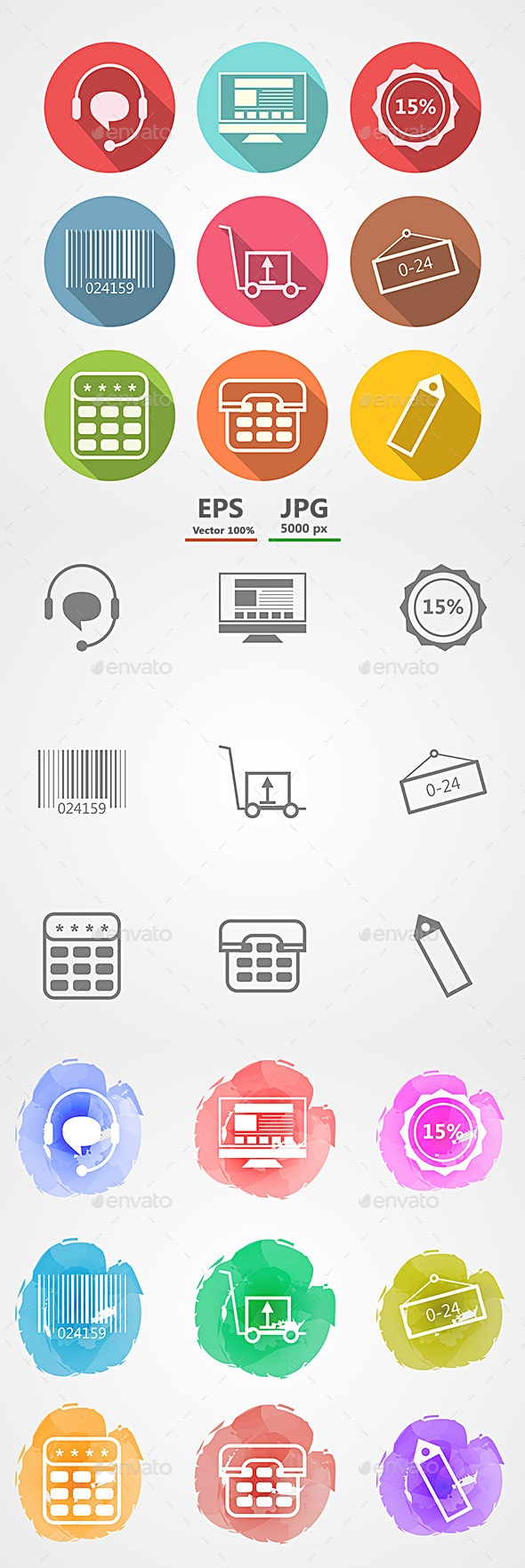 GraphicRiver Vector Icons for Internet Retail Service 9032328