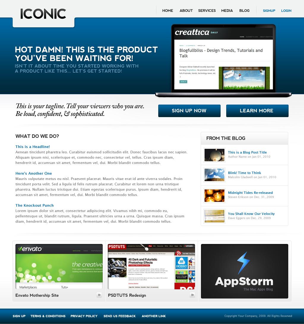 Iconic (HTML), a bold new professional web layout.
