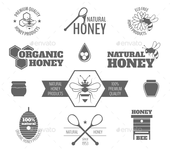 GraphicRiver Bee Honey Label Black 9032608