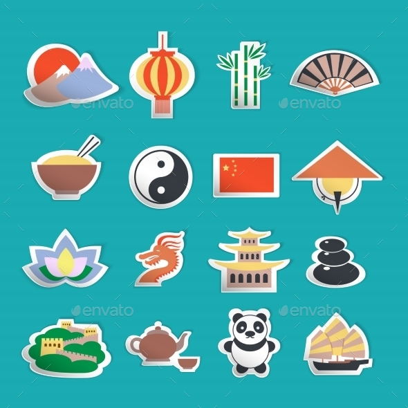 GraphicRiver China Icons Stickers 9032617